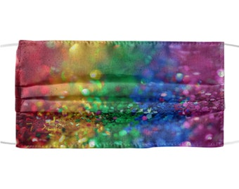 Rainbow Glitter Design Mask - Colorful Sparkly Sequins Design - Protective Face Mask - All Over Print - Reusable & Washable - One Size