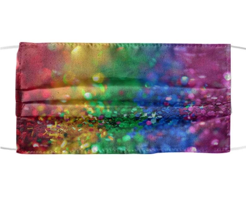 Rainbow Glitter Design Mask  Colorful Sparkly Sequins Design image 0