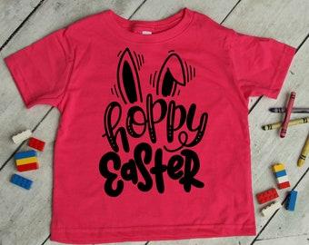Hoppy Easter T-Shirt, Kid's Bunny Ears Spring Easter Tee