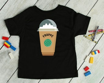 Frappe Coffee Tee, Kids Baby Toddler Funny Coffee Shirt, Frappuccino Cappuccino T-shirt