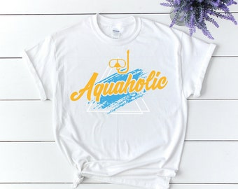 Aquaholic Water Goggles T-Shirt f or Holidays, Swimming, and Summertime   Summer Beach Pool Unisex Tee for Men & Women