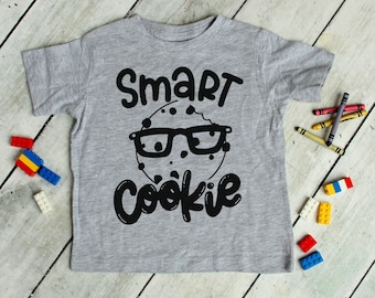 Smart Cookie Tee | Funny Kid's Food Shirt | Chocolate Chip Cookie With Glasses | Baby & Children's Smart Mischievous Shirt