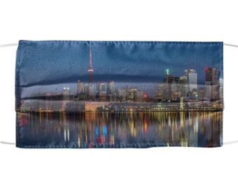 Skyline Design Mask - Pretty Protective Face Mask - City Water Nighttime View Cloth Protection - All Over Print - Reusable Washable - USA