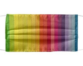 Rainbow Colors Design Mask - Pretty Protective Face Mask - Cool Rainbow Stripes Design Protection - All Over Print - Reusable Washable