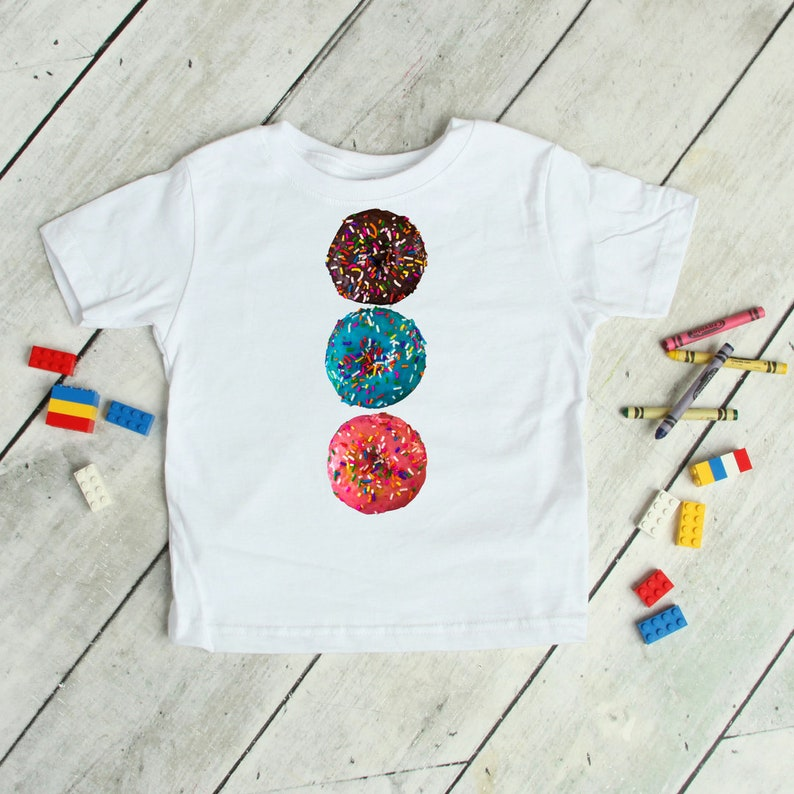 Three Donuts Tee  Yummy Party Doughnuts T-shirt with Colorful image 1