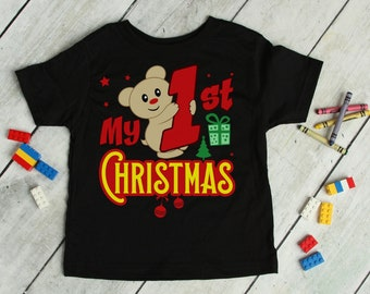 My First Christmas Baby's Holiday T-Shirt | Kid's 1st Xmas Holiday Season | New Parents New Baby Christmas Gift Tee