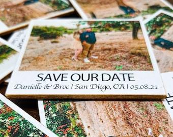 Wooden Polaroid Save The Dates, Wooden Polaroid Photo, Polaroid magnet for wedding invitations