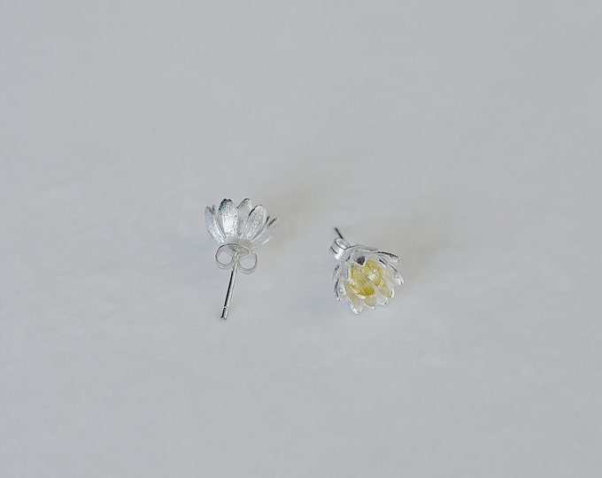 Lotus, 925 silver, gold plating, ear stud