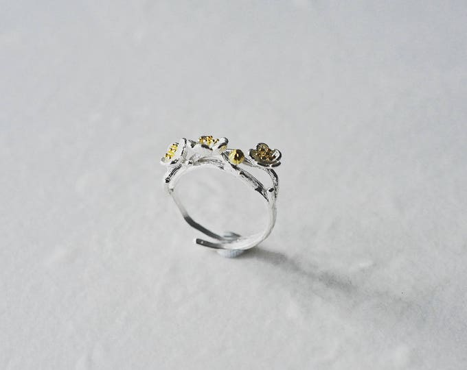 Wintersweet, 925 silver, 18ct gold plating, open ring
