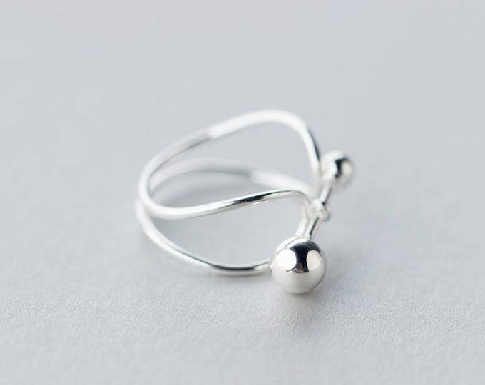 Two points one line,plain silver, ring