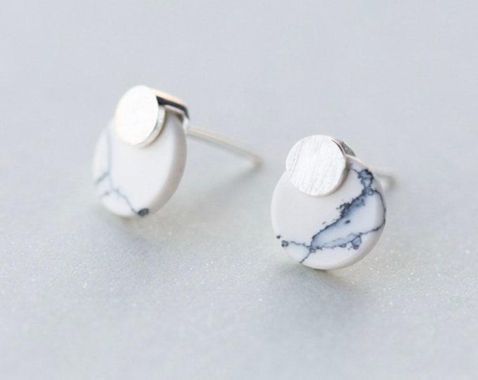 Original point, marble, 925 silver, ear stud