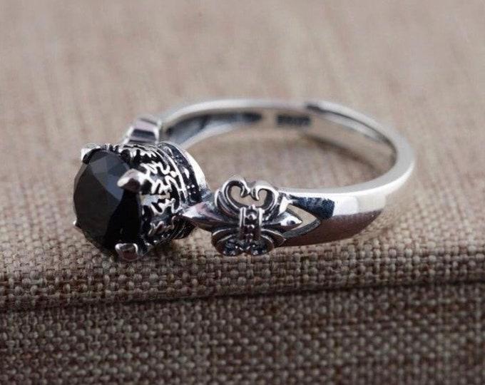 Duchess,obsidian,925 silver,  open ring