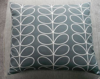 """Scandinavian style Orla Kiely Linear Stem cushion cover, in cool grey, including duck down pad -  14"""" x 17"""""""