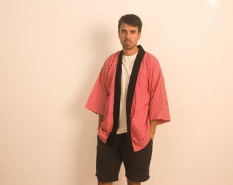 Red Summer Japanese Kimono Jacket/Top, Happi Coat, Seigaiha Wave Pattern, 100% Cotton