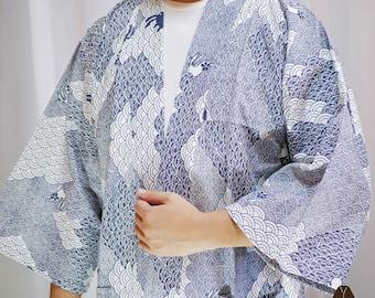 White Blue Purple Seigaiha Wave Pattern Rabbit Kimono Jacket Yukata/ Festival Jacket./Summer Japanese Kimono Jacket.