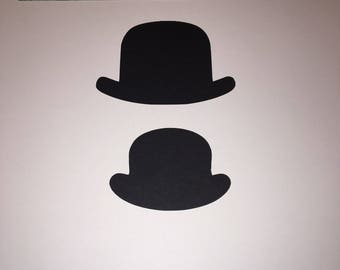 20 Black Bowler Hat Card Cut Outs for Crafting