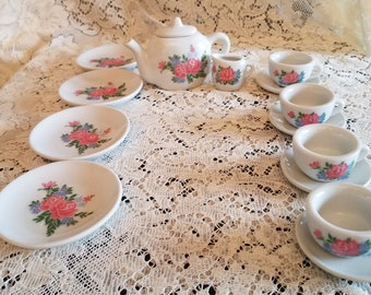The perfect thing for your child's tea party - a vintage tea set in a rose pattern