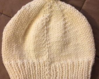 White knit hat with Pom-pom