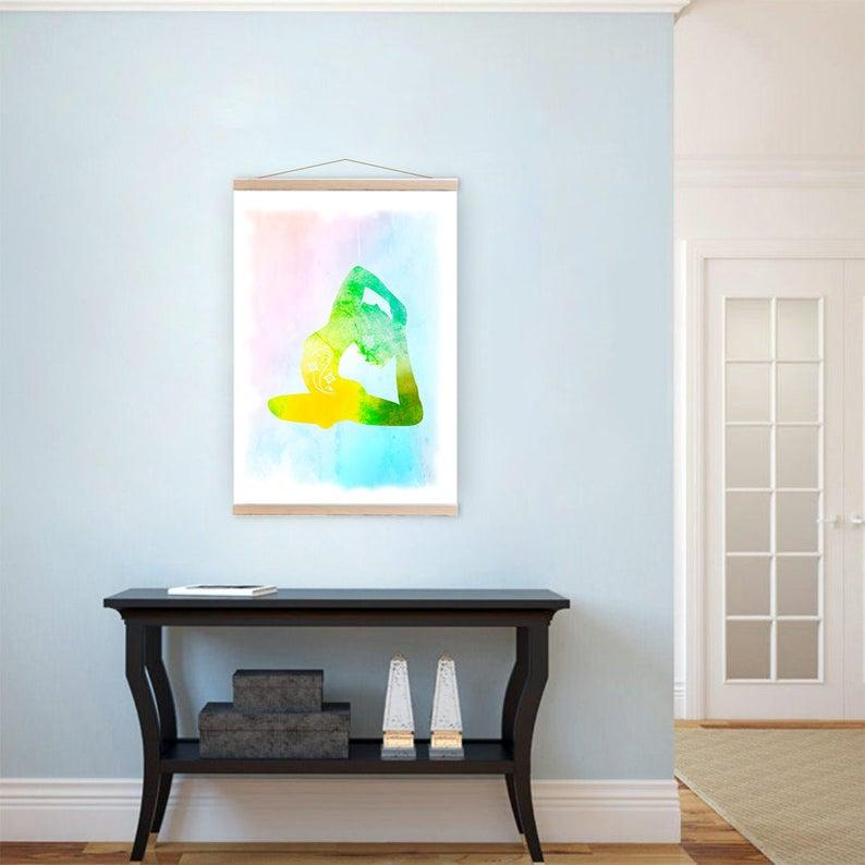 Yoga Bedroom Decor Pigeon Pose Asana Pose Wall Art Canvas Etsy