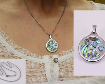OOAK-South Sea chain with pendant, cubic zirconia and abalone, stainless steel