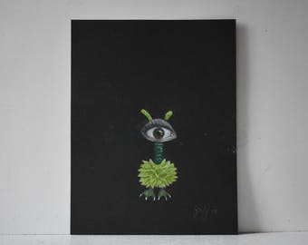 """Unique Alien Monster """"Jeff"""" Original Colored Pencil PRINT"""