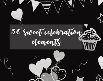 Sweet Celebration Chalkboard Clip Art - Instant Download - Cute Chalk Clip Arts - Download - Chalk Cupcakes - Bunting Banners #1CCA