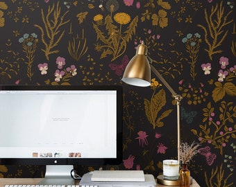 Dark Field Flowers 239  - REMOVABLE WALLPAPER - Gold and Onyx, Botanical, Temporary Wallpaper, For Renters, Premium, Vintage