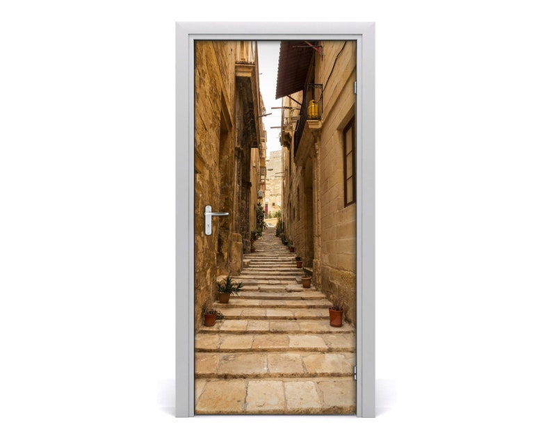 Self adhesive Door wrap removable Peel /& Stick Architecture Streets in Malta  DS/_837