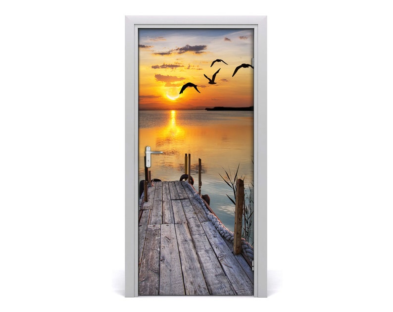 Self adhesive Door wrap removable Peel /& Stick Decal Landscapes Stony beach  DS/_923