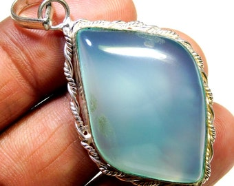 Sky Blue  .925 Sterling Silver Overlay Pendent Good Making And Good Design Size 56x28x7MM Gemstone