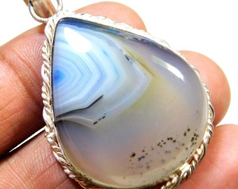 Sky Blue  .925 Sterling Silver Overlay Pendent Good Making And Good Design Size 53x30x8MM Gemstone