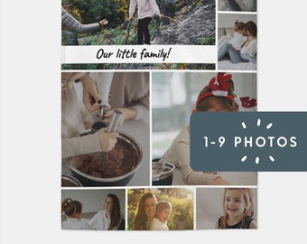 Custom Photo Blanket | Personalize With 1 to 9 Photos + Text | Wedding, Birthday, Christmas, Photo Collage, Family, Pet Blanket, Memory