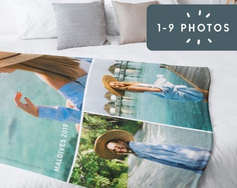 Custom Photo Blanket | Personalize With 1 to 9 Photos + Text | Photo Gift, Birthday, Christmas, Personal Gift, Family, Pet Blanket, Memory
