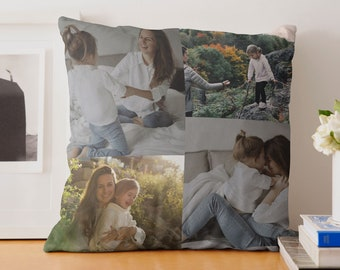Personalized 4 Photo Pillow | Navy Zig Zag | Personalized Pillow Case, Dad Gift, Customized Gift, Birthday, Mothers Day, Grandkids,Home Gift