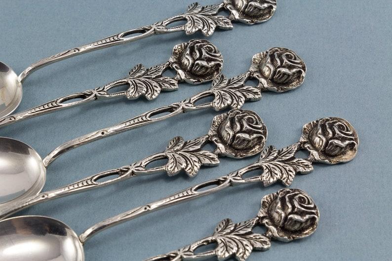 6 cuillères à thé, cuillère à café, Hildesheimer Rose, 800s, Argent, WMF, Vintage, Décor, Cuillère, Art Nouveau, Vintage Cutlery, Genuine Silver