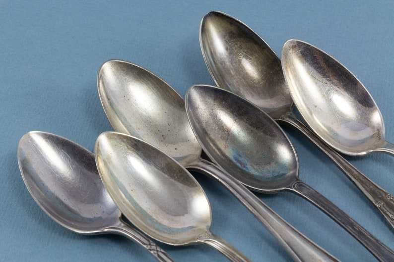 silver plated spoons in Art Nouveau 6 antique teaspoons with engravings mismatched