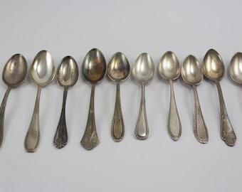 10 old teaspoons, Misatched, spoon set, Art Deco