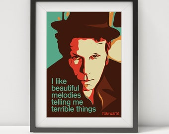 Tom waits art etsy tom waits tom waits poster tom waits art music poster tom waits quote rock legend lyrics poster blues poster folk poster pop art stopboris Choice Image