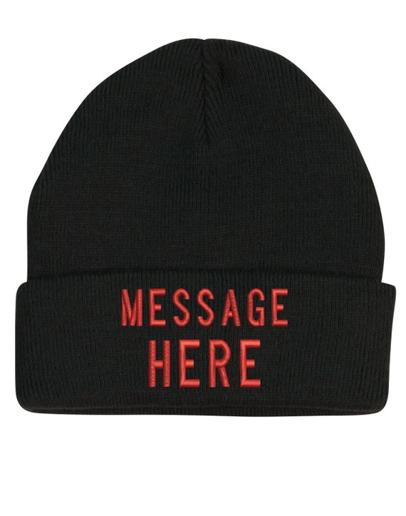 Custom made embroidery beanies with your own names or  c98d2533687