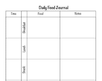 daily food tracker etsy
