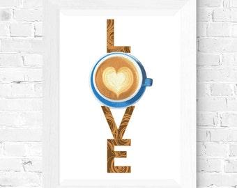 Coffee LOVE. Printable Wall Art. Coffee Art.