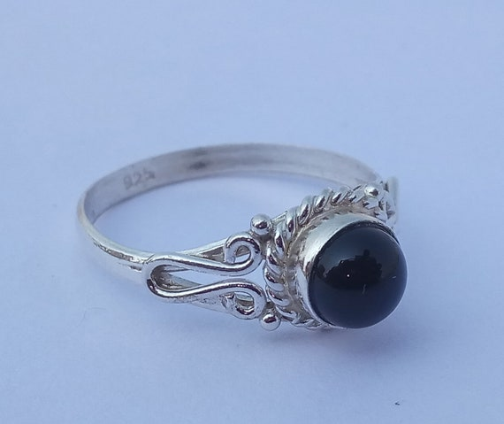 US Genuine Black Onyx Silver Ring 925 Solid Sterling Silver Jewelry Size 3-13