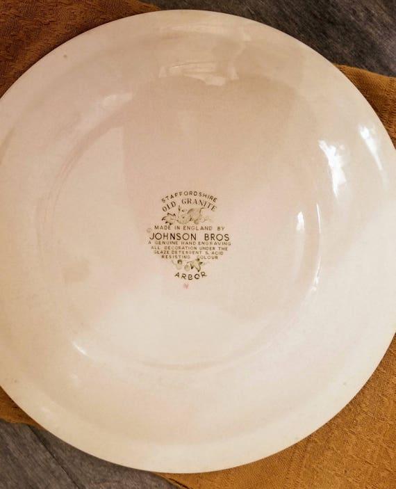 Dîner Vintage plaque Johnson Brothers «Arbre» vieux granit anglais grès