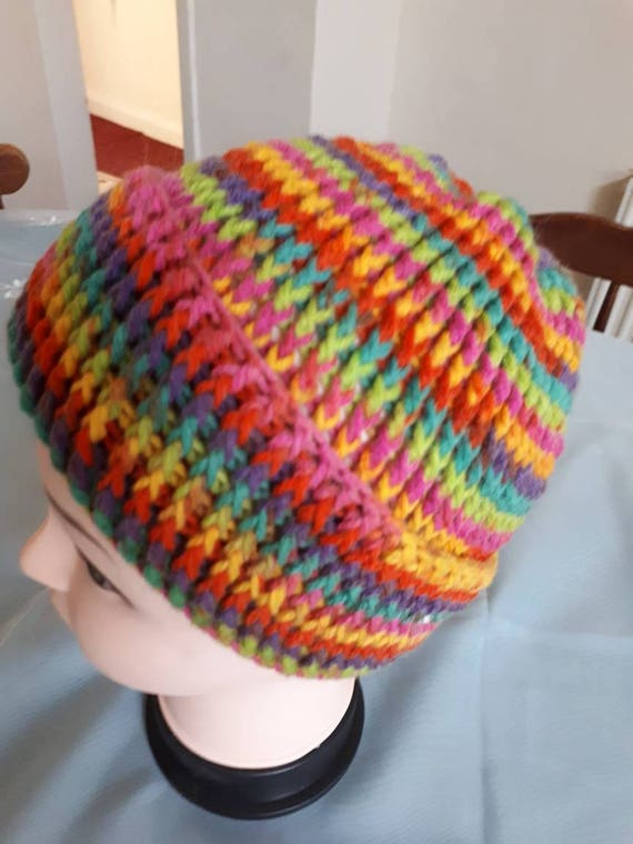Super Luxurious Arana Crochet Rainbow Bright Beanie Hat  4d5050ff52a
