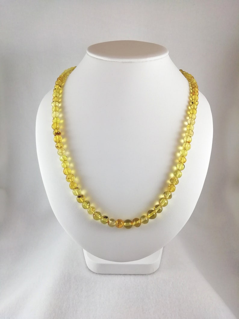 Yellow Chiapas Amber Spheres Necklace Mexican amber pearl necklace.