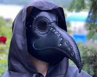 Plague Doctor Mask, Plague Dr Mask in Black Leather, Doctor Plague Mask