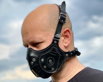 Black Leather Mask, Biker Mask, Leather face Mask, Scorpion Mask, BDSM Mask, Fetish Mask, Steampunk Mask