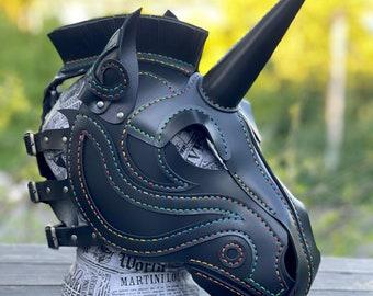 Rainbow&Black Leather Unicorn Mask