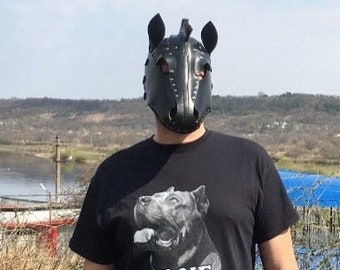 Horse head leather mask - Handmade cosplay - Leather Pony Hood- Fetish Mask - BDSM Mask -Sex Toy - Leather Horse Mask