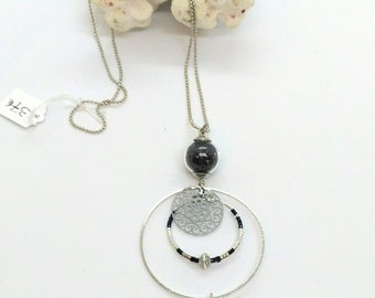 Tahitian Pearl and black sand print necklace